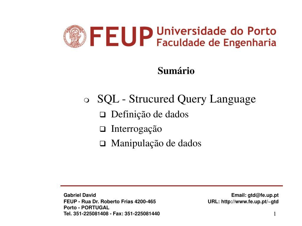 sum rio sql strucured query language defini o de dados interroga o manipula o de dados l.