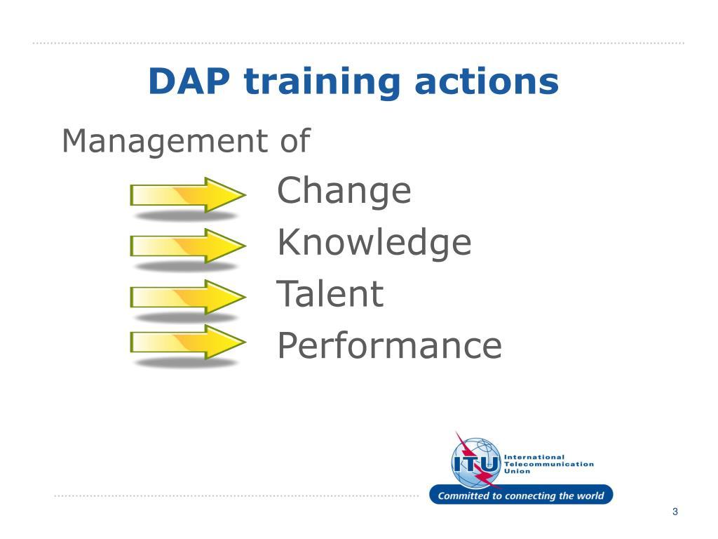 DAP training actions