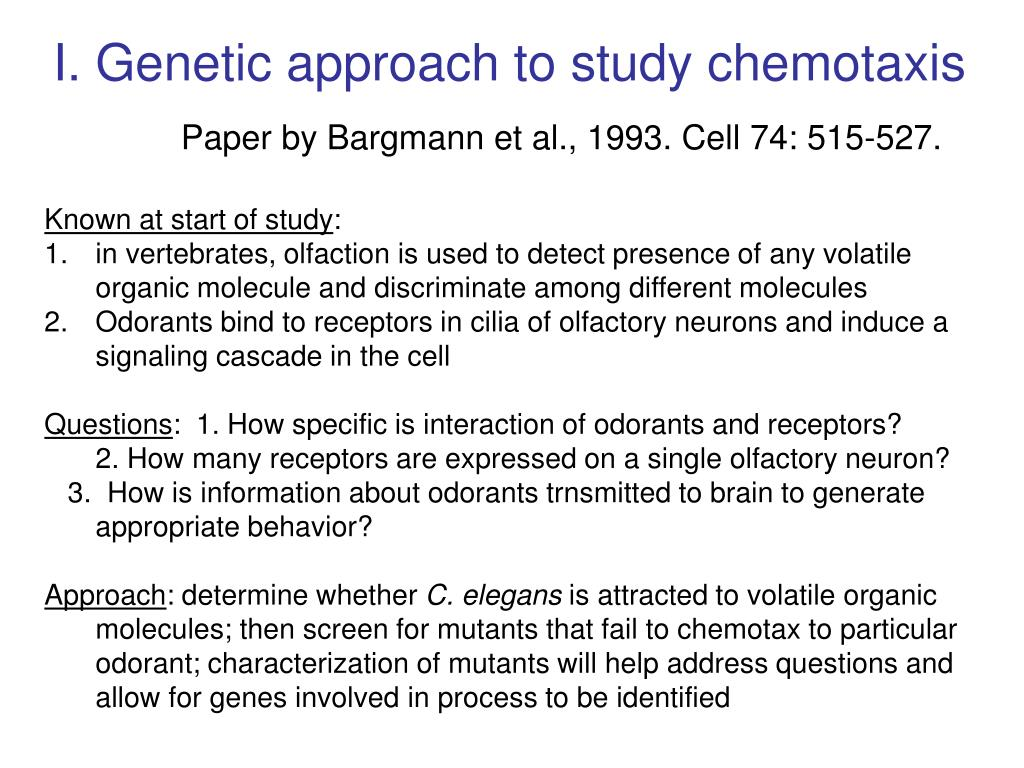 I. Genetic approach to study chemotaxis