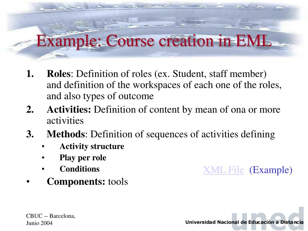 Example: Course creation in EML