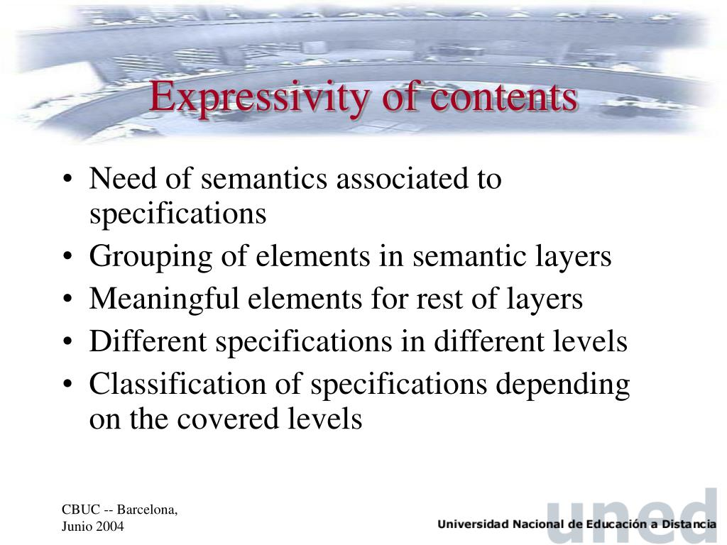Expressivity of contents