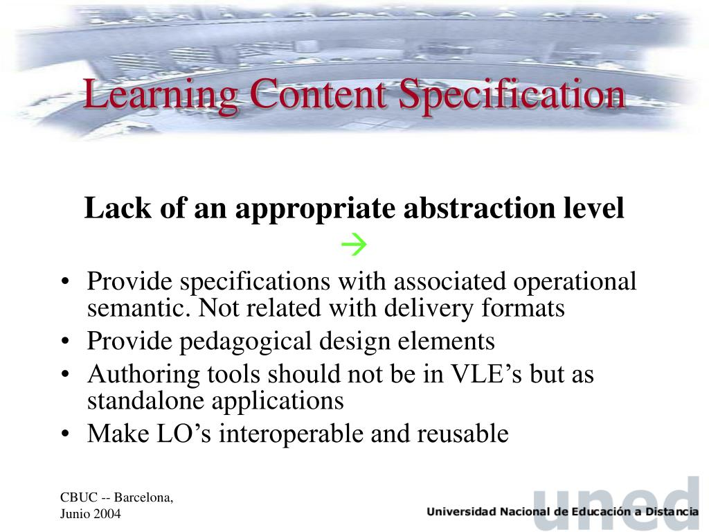Learning Content Specification