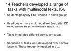 14 teachers developed a range of tasks with multimodal texts k 8