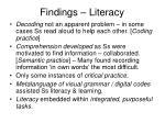 findings literacy