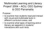 multimodal learning and literacy project 2004 acu ceo sydney ceo parramatta
