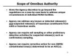 scope of omnibus authority