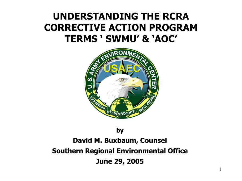 understanding the rcra corrective action program terms swmu aoc l.