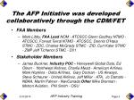 the afp initiative was developed collaboratively through the cdm fet