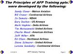 the principles of afp training ppts were developed by the following