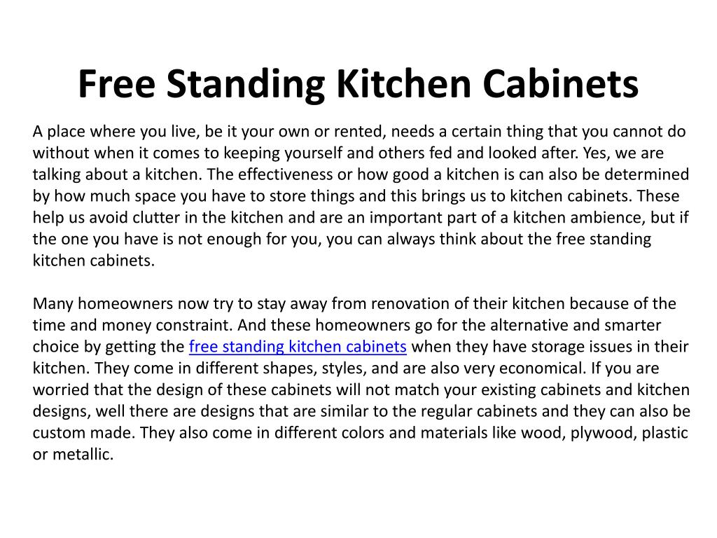 free standing kitchen cabinets l.