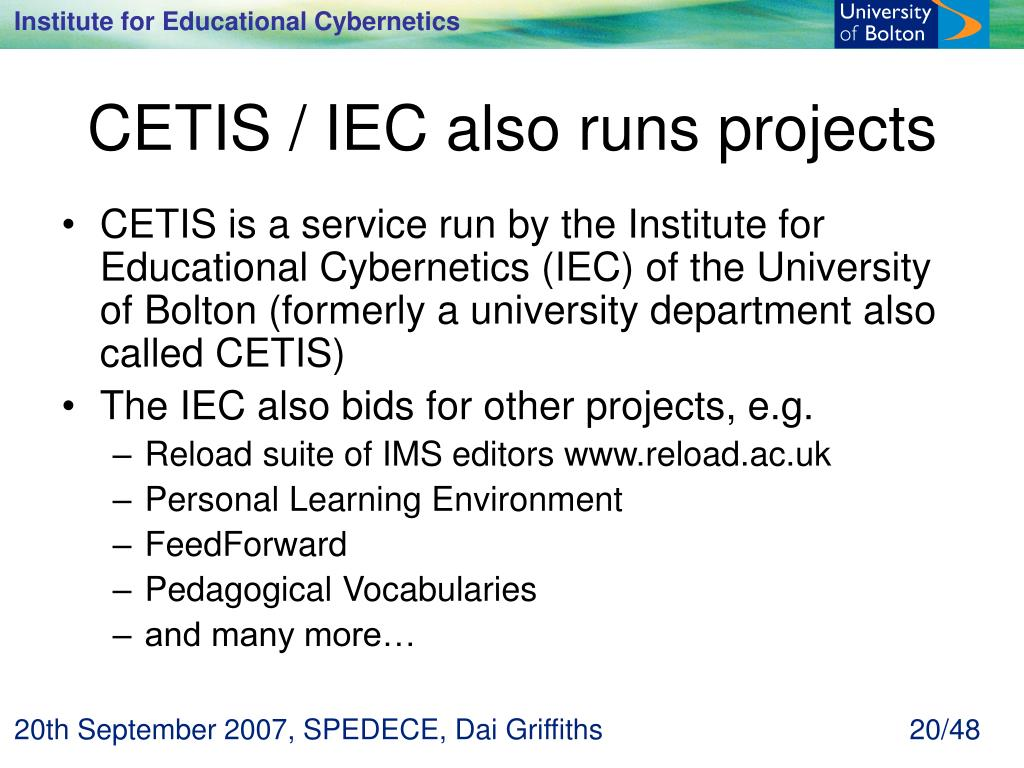 CETIS / IEC also runs projects