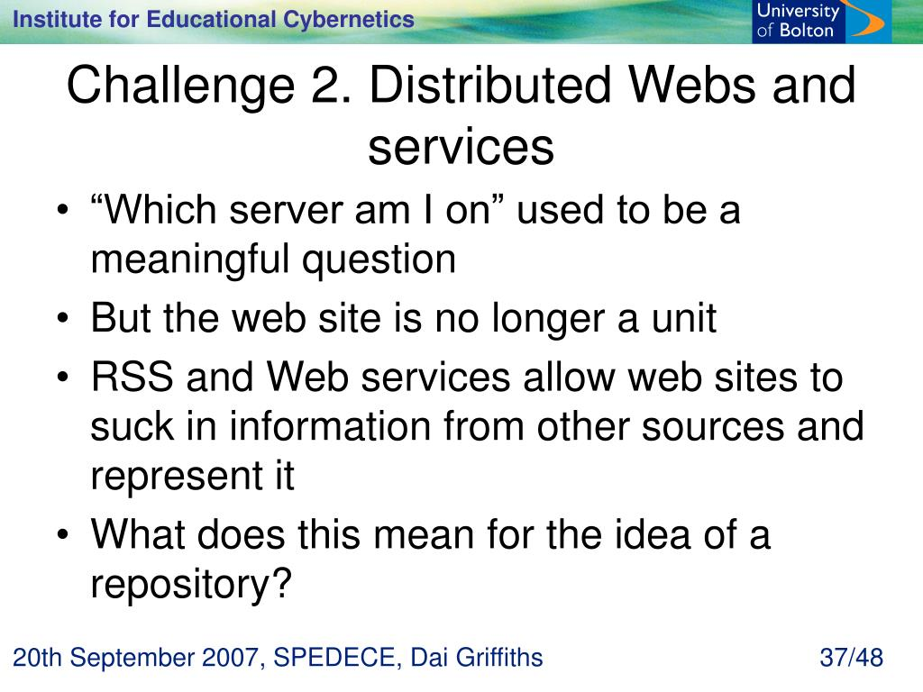 Challenge 2. Distributed Webs and services