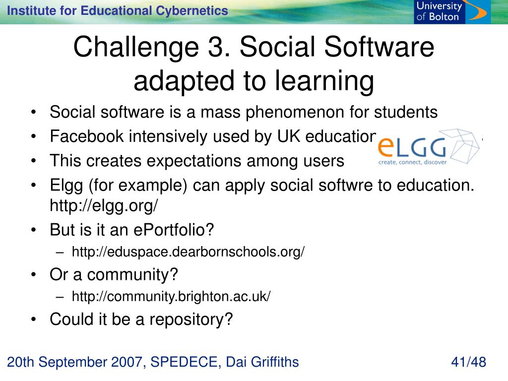 Challenge 3. Social Software adapted to learning