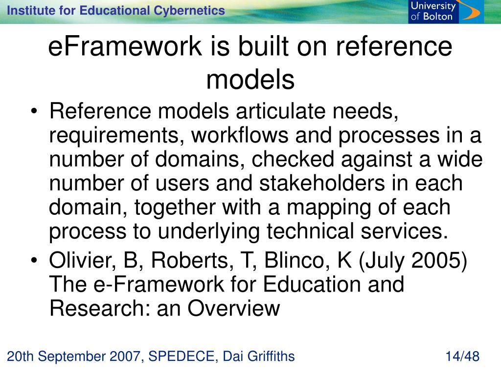 eFramework is built on reference models
