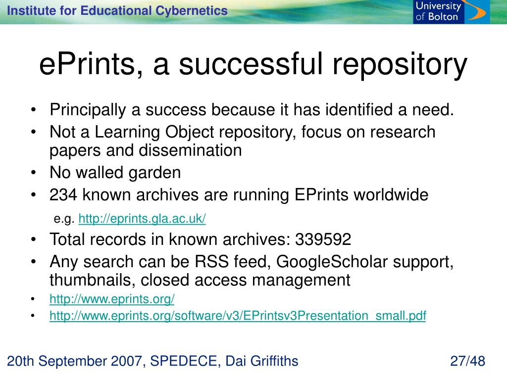 ePrints, a successful repository