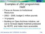 examples of jisc programmes fair