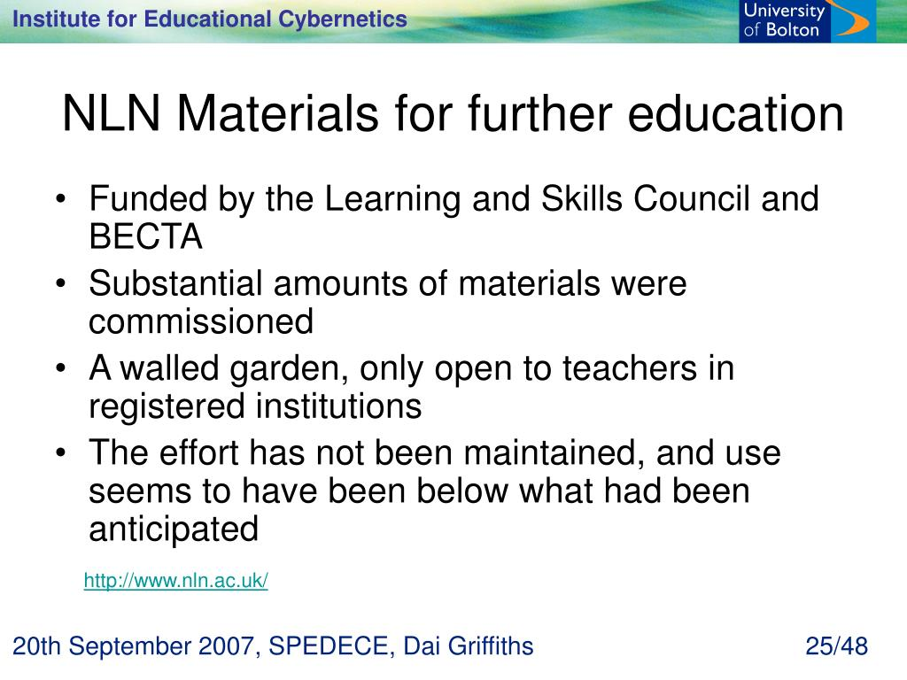 NLN Materials for further education