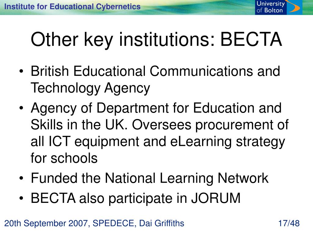 Other key institutions