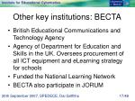 other key institutions becta