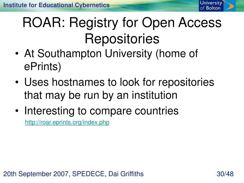 ROAR: Registry for Open Access Repositories