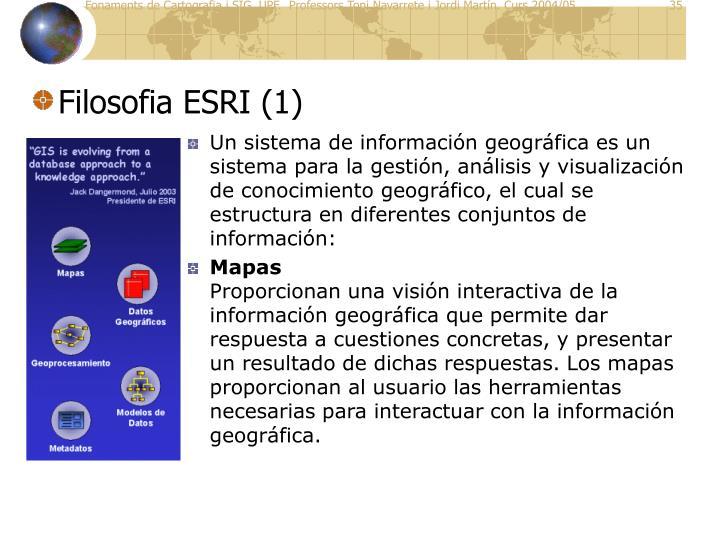 Un sistema de información geográfica es un sistema para la gestión, análisis y visualización de conocimiento geográfico, el cual se estructura en diferentes conjuntos de información: