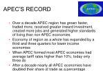 apec s record