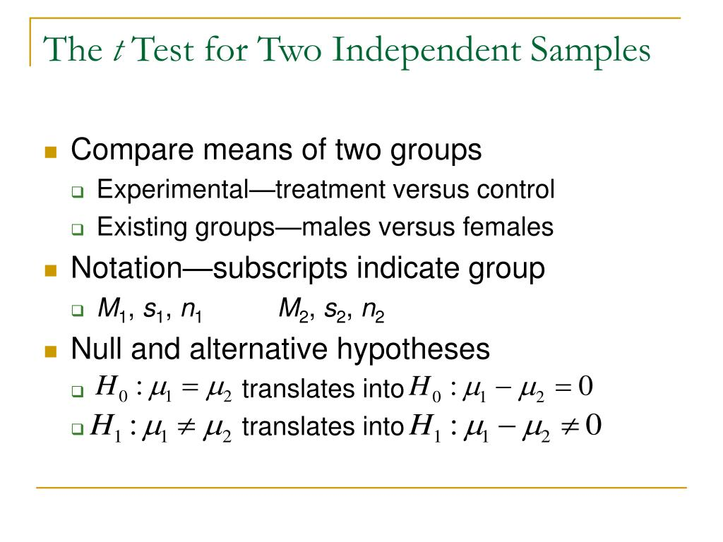 the t test for two independent samples l.