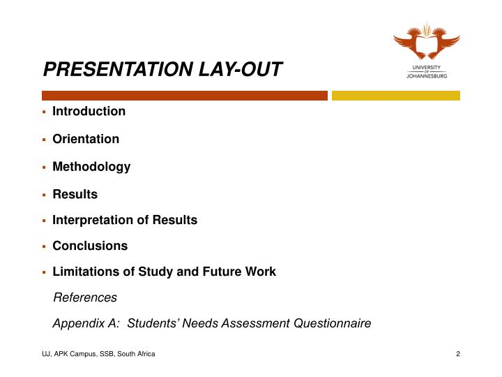 Presentation lay out