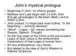 john s mystical prologue