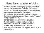 narrative character of john