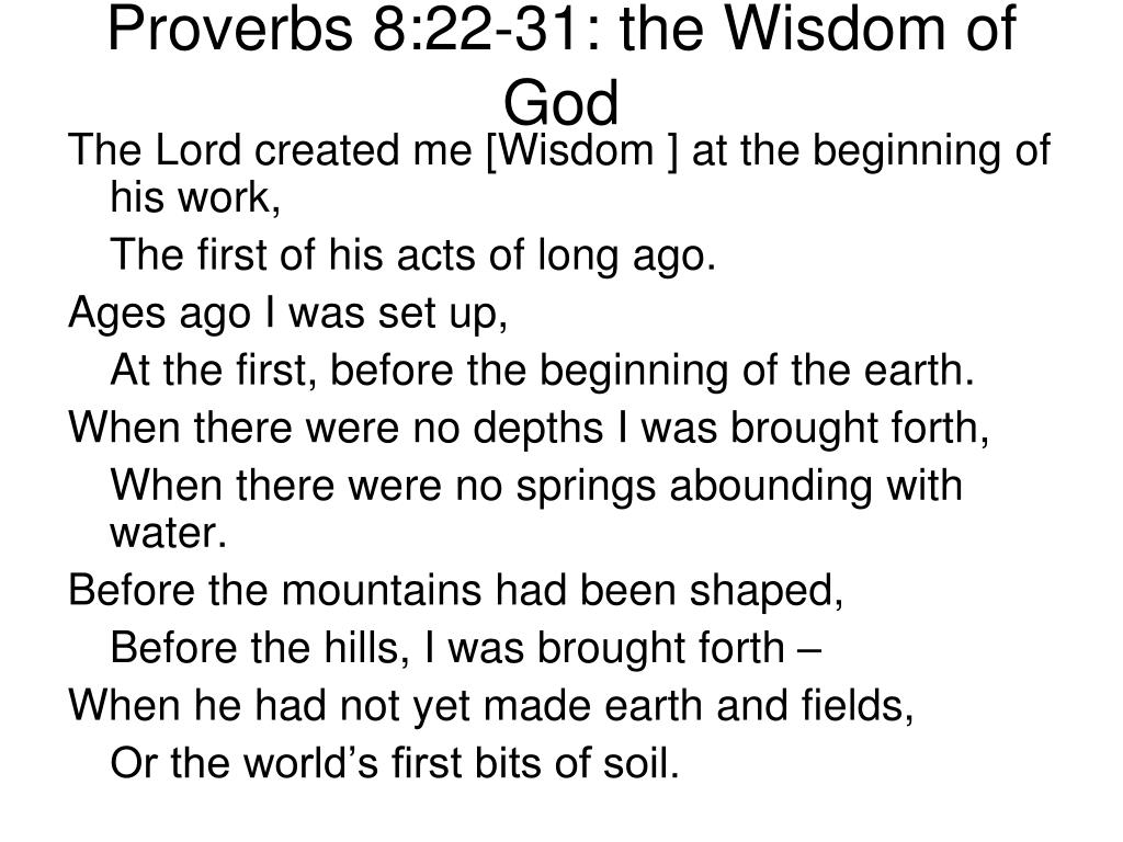 Proverbs 8:22-31: the Wisdom of God