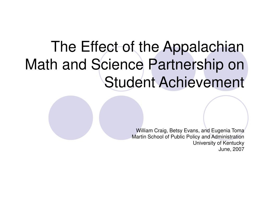 the effect of the appalachian math and science partnership on student achievement l.