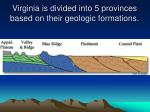 virginia is divided into 5 provinces based on their geologic formations