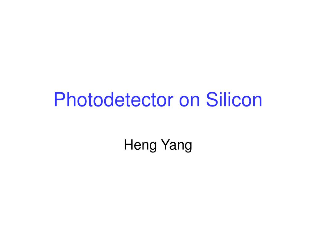 photodetector on silicon l.