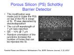 porous silicon ps schottky barrier detector