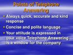 points of telephone answering