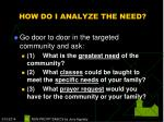 how do i analyze the need16