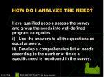 how do i analyze the need17