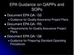 epa guidance on qapps and sops