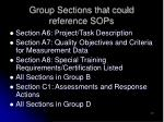 group sections that could reference sops