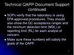 technical qapp document support continued