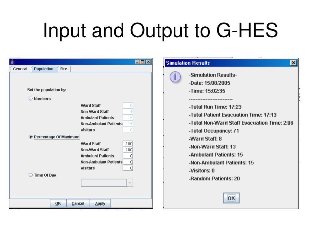 Input and Output to G-HES