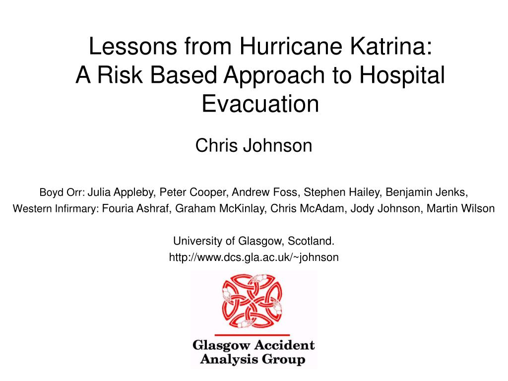 lessons from hurricane katrina a risk based approach to hospital evacuation l.