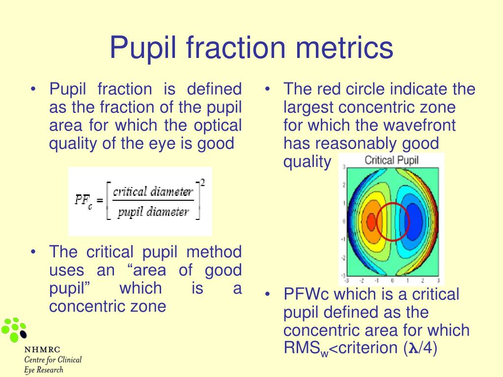 Pupil fraction is defined as the fraction of the pupil area for which the optical quality of the eye is good