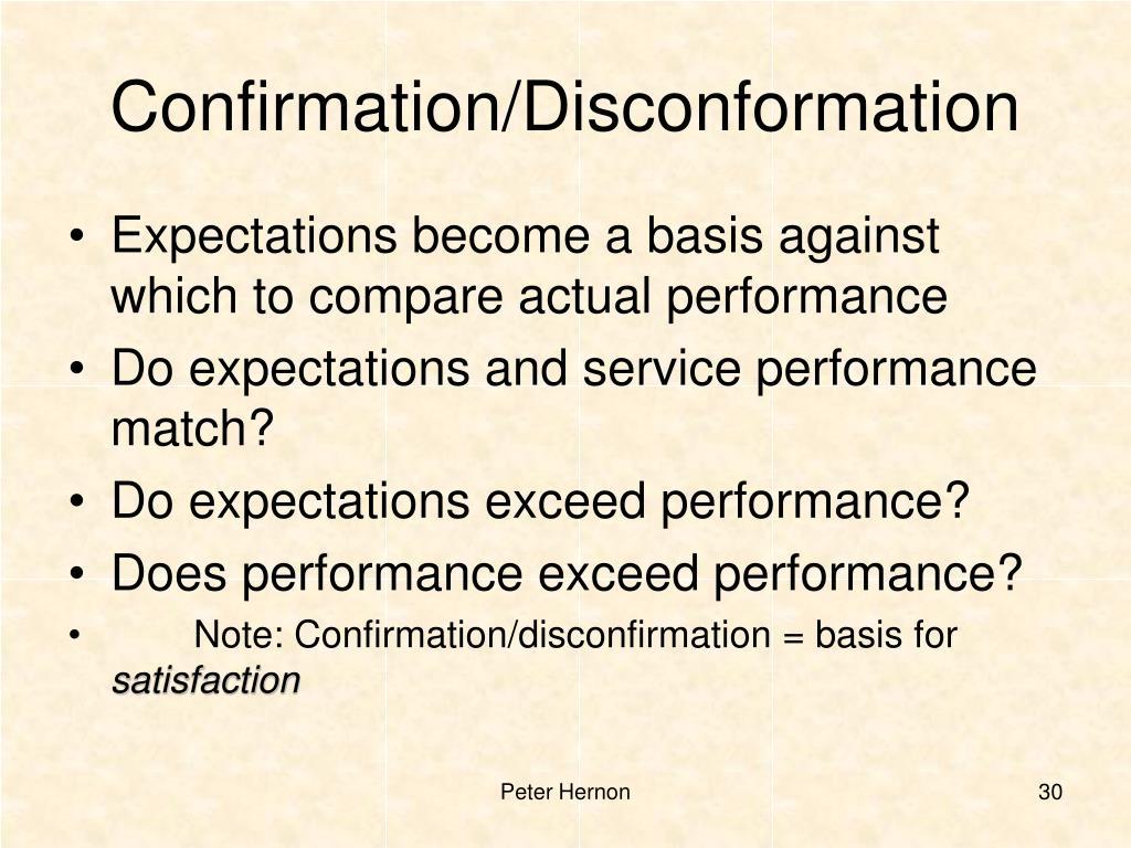 Confirmation/Disconformation