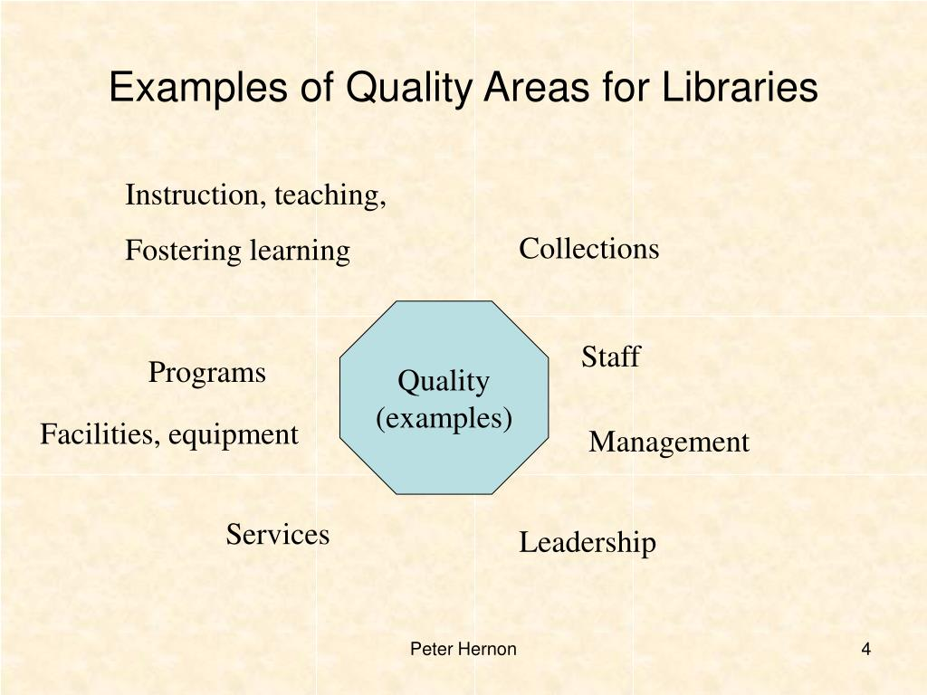 Examples of Quality Areas for Libraries