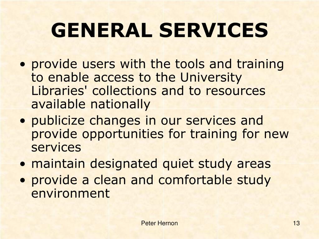 GENERAL SERVICES