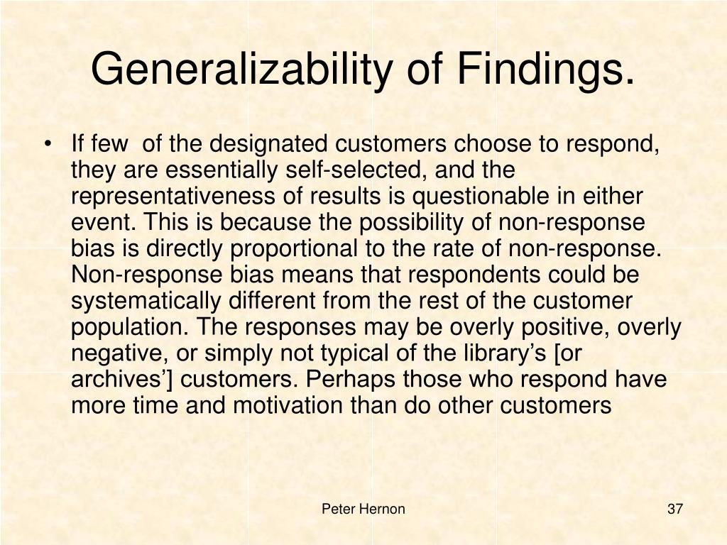 Generalizability of Findings.