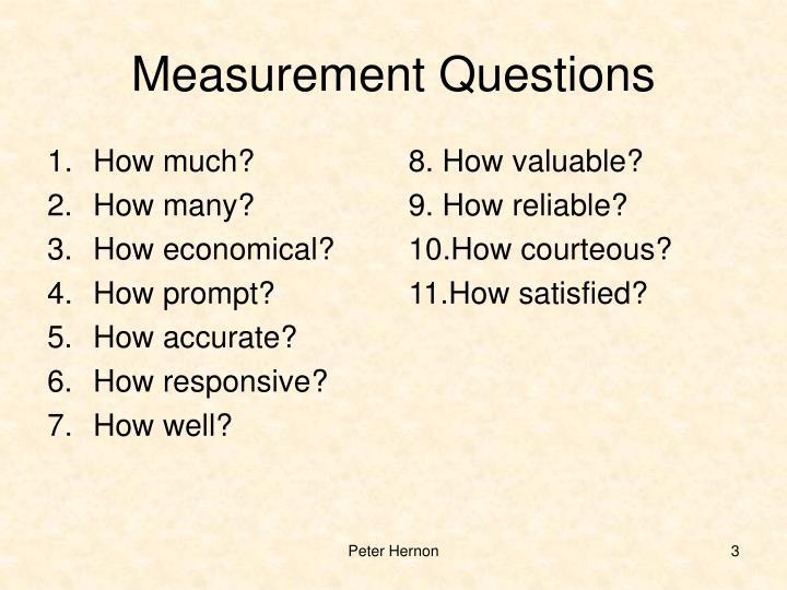 Measurement questions
