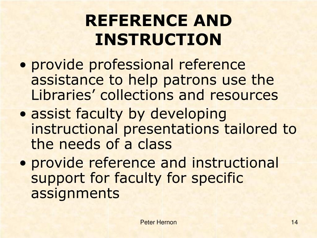 REFERENCE AND INSTRUCTION